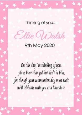 Thinking of you Communion or Confirmation Postponed Card Pink Stars